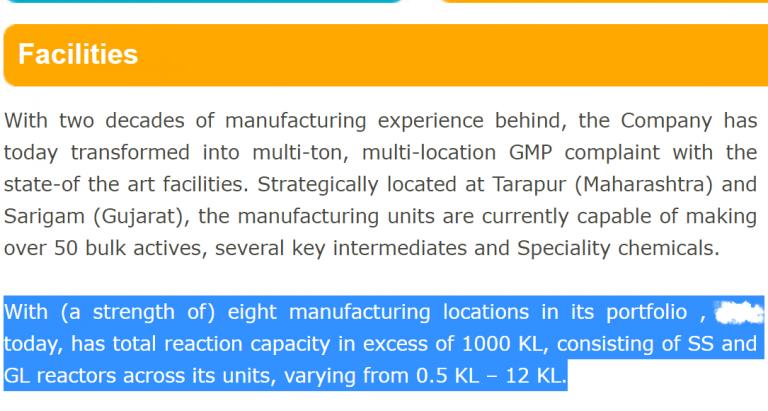 API Manufacturer facilities