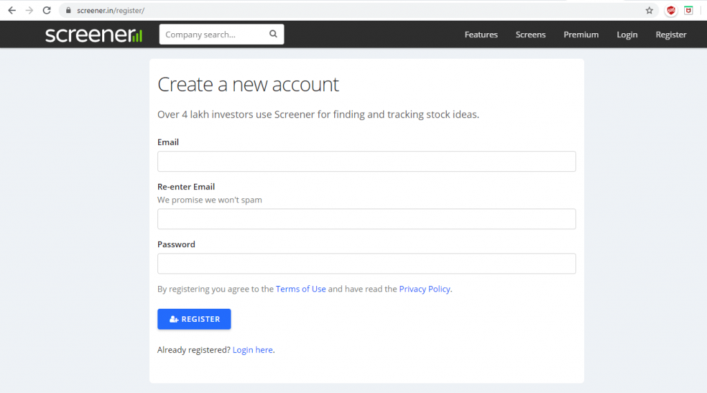 create an account with screener
