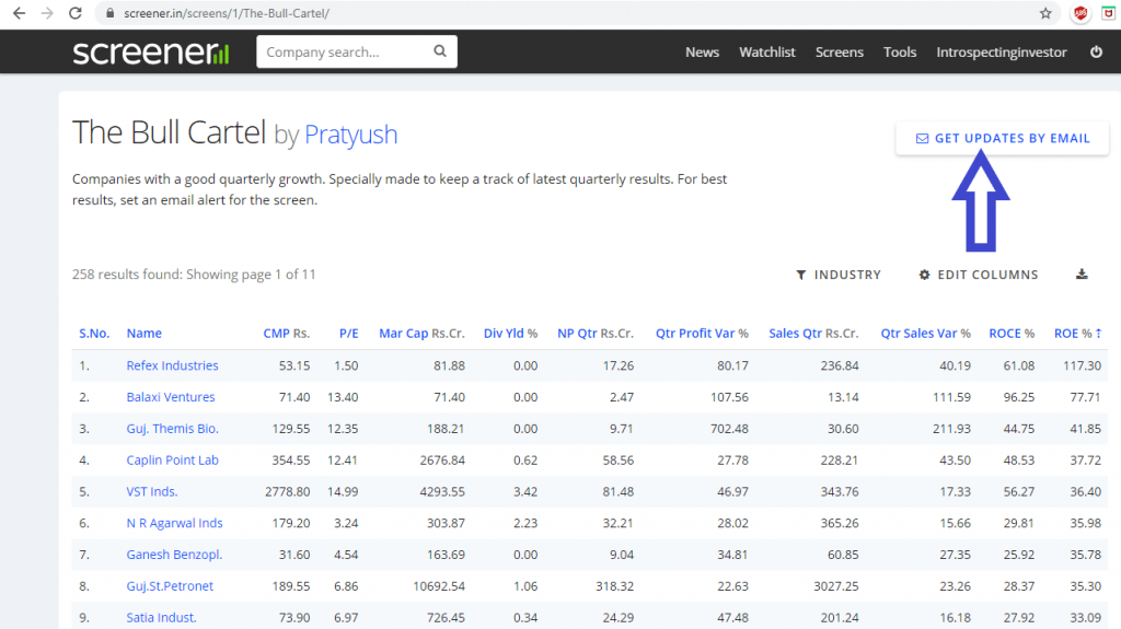 make a watchlist of stocks based on quarterly results and get updates by email feature screener