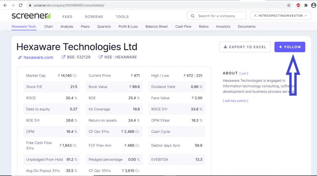 hexaware technologies data on screener