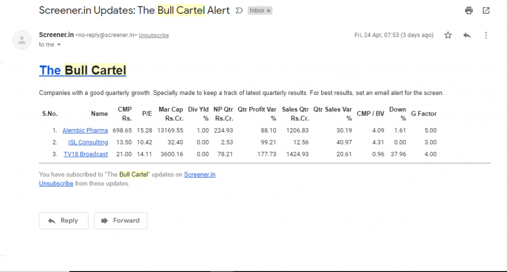 make watchlist of stocks based on quarterly results using email update for the screen bull cartel