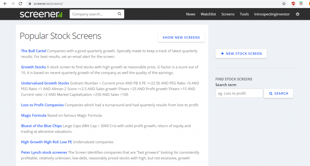 popular stock screens on screener