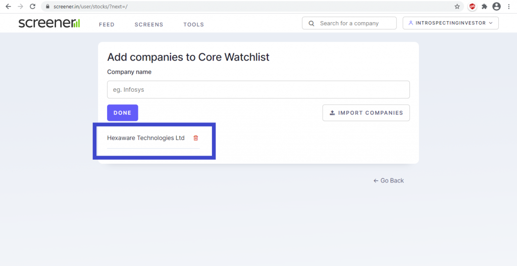 too see which companies are in watchlist on screener